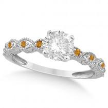 Vintage Diamond & Citrine Bridal Set 14k White Gold 0.95ct