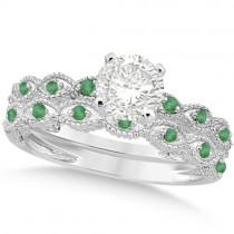 Vintage Diamond & Emerald Bridal Set 14k White Gold 0.95ct