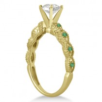 Vintage Diamond & Emerald Bridal Set 14k Yellow Gold 0.95ct