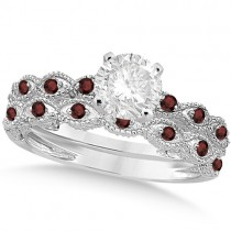 Vintage Diamond & Garnet Bridal Set 14k White Gold 1.20ct
