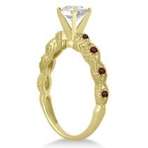 Vintage Diamond & Garnet Bridal Set 14k Yellow Gold 1.70ct