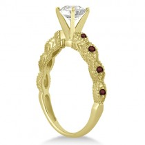Vintage Diamond & Garnet Bridal Set 14k Yellow Gold 1.20ct