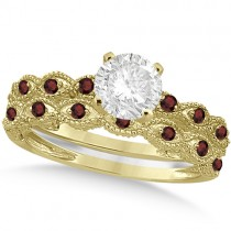 Vintage Diamond & Garnet Bridal Set 18k Yellow Gold 0.95ct