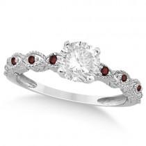 Vintage Diamond & Garnet Bridal Set Palladium 1.70ct