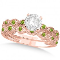 Vintage Diamond & Peridot Bridal Set 14k Rose Gold 0.70ct