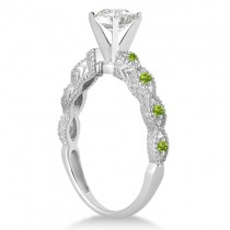 Vintage Diamond & Peridot Bridal Set 14k White Gold 1.70ct