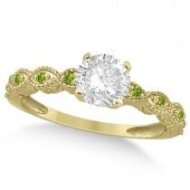 Vintage Diamond & Peridot Bridal Set 14k Yellow Gold 1.20ct