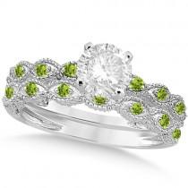Vintage Diamond & Peridot Bridal Set Palladium 1.20ct