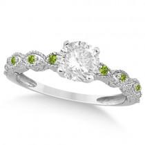 Vintage Diamond & Peridot Bridal Set Platinum 1.70ct