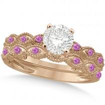 Vintage Diamond & Pink Sapphire Bridal Set 14k Rose Gold 0.70ct