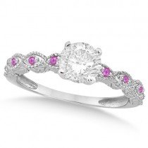 Vintage Diamond & Pink Sapphire Bridal Set 14k White Gold 0.95ct