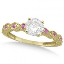Vintage Diamond & Pink Sapphire Bridal Set 14k Yellow Gold 0.70ct