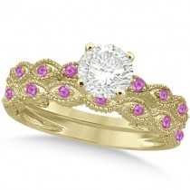 Vintage Diamond & Pink Sapphire Bridal Set 14k Yellow Gold 0.95ct