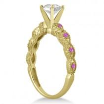Vintage Diamond & Pink Sapphire Bridal Set 14k Yellow Gold 0.95ct
