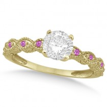 Vintage Diamond & Pink Sapphire Bridal Set 14k Yellow Gold 1.20ct
