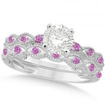 Vintage Diamond & Pink Sapphire Bridal Set 18k White Gold 1.20ct