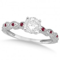 Vintage Diamond & Ruby Bridal Set 14k White Gold 0.95ct
