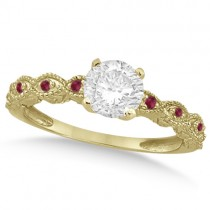 Vintage Diamond & Ruby Bridal Set 14k Yellow Gold 0.95ct