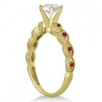 Vintage Diamond & Ruby Bridal Set 14k Yellow Gold 1.20ct