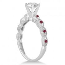 Vintage Lab Grown Diamond & Ruby Bridal Set 14k White Gold 1.70ct