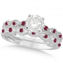 Vintage Lab Grown Diamond & Ruby Bridal Set 14k White Gold 1.20ct