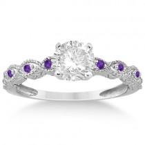 Vintage Marquise Amethyst Engagement Ring Palladium (0.18ct)