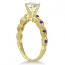 Antique Amethyst Bridal Set Marquise Shape 18K Yellow Gold 0.36ct