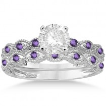 Antique Amethyst Bridal Set Marquise Shape Platinum 0.36ct
