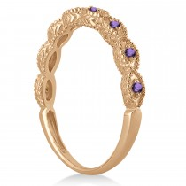 Antique Marquise Shape Amethyst Wedding Ring 14k Rose Gold (0.18ct)