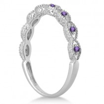 Antique Marquise Shape Amethyst Wedding Ring 18k White Gold (0.18ct)
