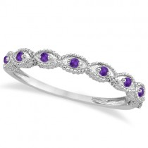 Antique Marquise Shape Amethyst Wedding Ring Platinum (0.18ct)