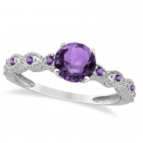 Vintage Style Amethyst Engagement Ring in 14k White Gold (1.18ct)