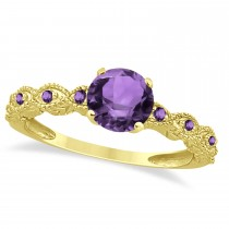 Vintage Style Amethyst Engagement Ring in 14k Yellow Gold (1.18ct)