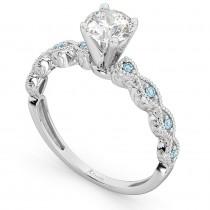Vintage Marquise Aquamarine Engagement Ring 14k White Gold (0.18ct)