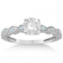 Vintage Marquise Aquamarine Engagement Ring Platinum (0.18ct)