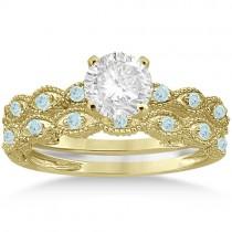 Antique Aquamarine Bridal Set Marquise Shape 14K Yellow Gold 0.36ct