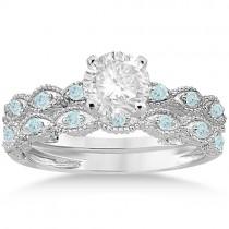 Antique Aquamarine Bridal Set Marquise Shape Platinum 0.36ct