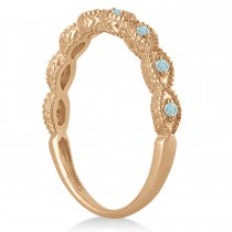 Antique Marquise Shape Aquamarine Wedding Ring 18k Rose Gold (0.18ct)