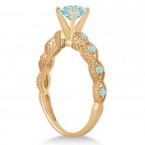 Vintage Style Aquamarine Engagement Ring in 18k Rose Gold (1.18ct)