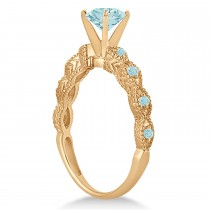 Vintage Aquamarine Engagement Ring Bridal Set 14k Rose Gold (1.36ct)