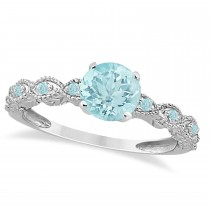 Vintage Aquamarine Engagement Ring Bridal Set 18k White Gold (1.36ct)