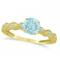 Vintage Aquamarine Engagement Ring Bridal Set 18k Yellow Gold (1.36ct)