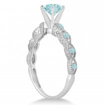 Vintage Aquamarine Engagement Ring Bridal Set Platinum (1.36ct)