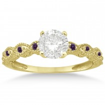 Vintage Marquise Lab Alexandrite Engagement Ring 18k Yellow Gold (0.18ct)