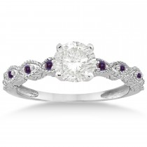 Vintage Marquise Lab Alexandrite Engagement Ring Palladium (0.18ct)