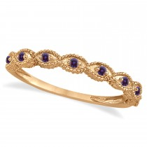 Antique Lab Alexandrite Engagement Ring Set 14k Rose Gold (0.36ct)