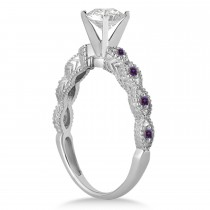 Antique Lab Alexandrite Engagement Ring Set 14k White Gold (0.36ct)