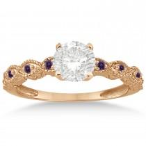 Antique Lab Alexandrite Engagement Ring Set 18k Rose Gold (0.36ct)