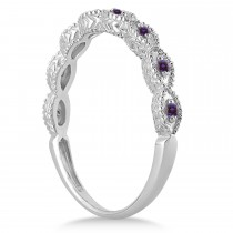 Antique Marquise Shape Lab Alexandrite Wedding Ring 14k White Gold (0.18ct)
