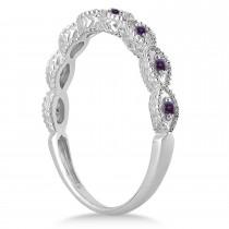 Antique Marquise Shape Lab Alexandrite Wedding Ring Palladium (0.18ct)